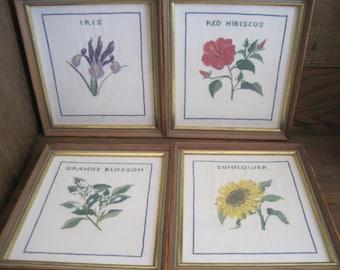 Vintage Cross Stitch Flower Pictures - Framed - Linen