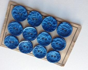 French Vintage 1940s blue buttons  Paris mode