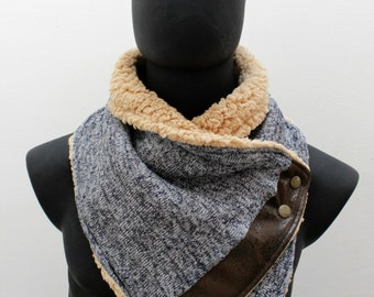 Mens cowl scarf. Unisex cowl. Navy Flecked jersey knit and lamb fur,metalic snaps. Lightweight  and cozy. Mens winter. Husband gift.