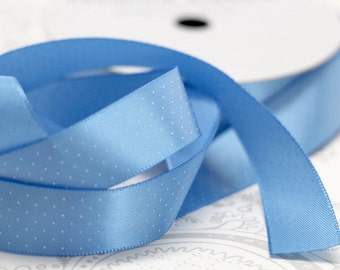 Periwinkle Blue Satin Ribbon 5/8 -- 4 yards -- Swiss Dots -- American Crafts -- Wave -- 58260 -- 16mm