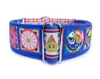 "Valencia Tile Dog Collar - 1"" or 1.5"" Tiled Martingale Collar or Adjustable Buckle Dog Collar"