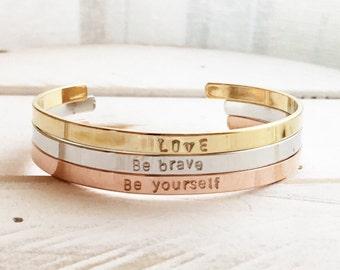 Personalized Gift / Cuff Bracelet / Custom Cuff Bracelet / Inspirational Bracelet / Bangle / Personalized Gift / Hand Stamped Cuff Bracelet