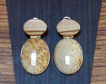 Petrified palm and jasper earrings