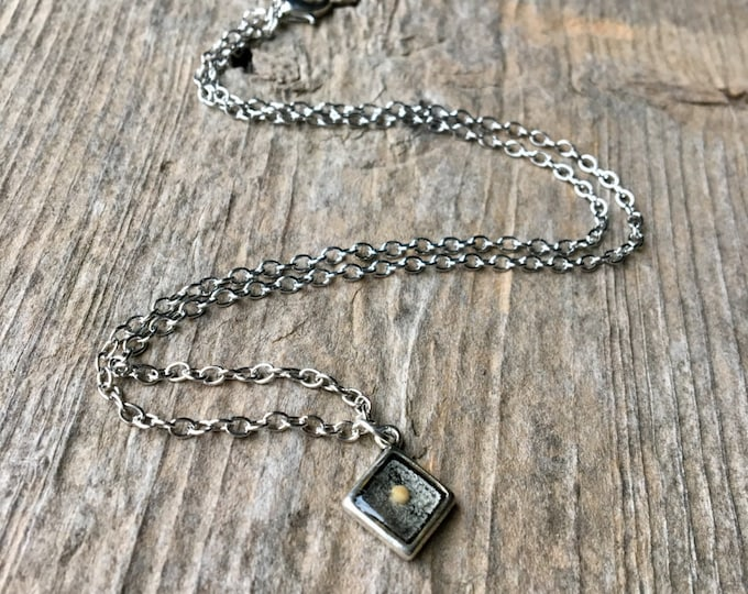 Tiny Silver Square Mustard Seed Faith Necklace Faith Jewelry