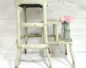 Vintage Stool Ladder Rustic Farmhouse Folding Stool Step Stool/Step Ladder Metal Green Chippy