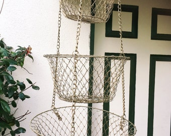 3 tiered collapsible wire basket, 3 tiered hanging basket, metal  fruit basket,  metal garden basket, wire basket