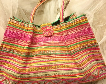 Vintage colorful embroidered colored tote bag , multicolored tote handbag
