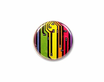 1 Inch Pinback Button Original - Rainbow Circuit Board