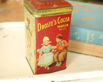 RARE Vintage Tin, Home Decor, Old Tins, Antique Droste Cocoa Dutch Tin Box w/ Hinged Lid, Storage Container, Retro, Kitchen Decor, Tea