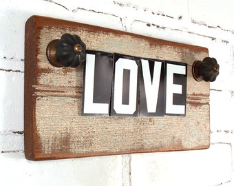 LOVE Wall Sign, Shelf Plaque, Repurposed Vintage Tin Letters, Salvaged Distressed Wood, Black and White, Chic Home Decor, Bead Board