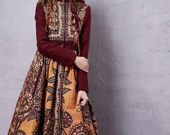 Women's Winter New Ethnic Printed Woolen Coat Vintage Stand Collar Long Sleeve Outerwear Long Coat