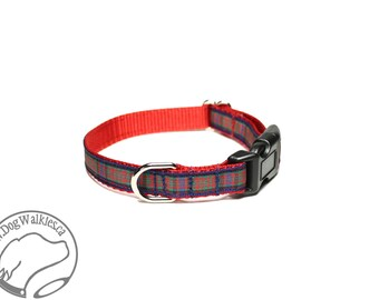 "NEW width - MacDonald Clan Tartan Small Dog Collar - Thin Dog Collar - 1/2"" (12mm) Wide - Red Plaid - Choice of collar style and size"