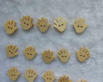 "30 PCs Natural wood buttons 18mm - Wooden Buttons ,tree buttons, natural wood buttons ""hand"" A013"
