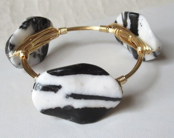 "Black and White Zebra Jasper Large Slab Stone Bangle Bracelet ""Bourbon and Bowties Inspired"