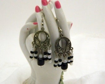 Silver Chandelier Earrings - Black and White Glass Beads