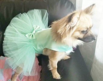 Mint Dog Wedding Dress, Dog. Blue Wedding Tutu Dress -  Bridesmaid Dog Dress Tutu