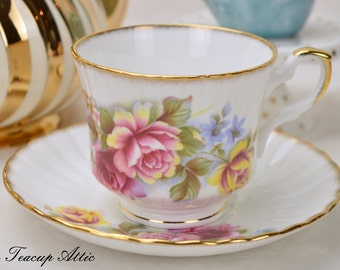 Royal Stafford Vintage Teacup and Saucer Set With Roses, English Bone China, Tea Party, Wedding Gift, c. 1970