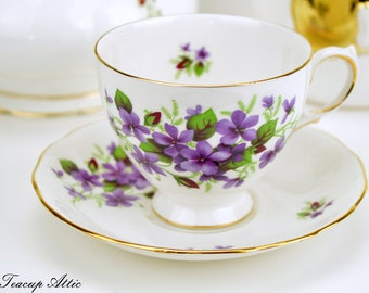 RESERVED Queen Anne Teacup and Saucer With Purple Violets, English Bone China Tea Cup Set, Afternoon Tea,  ca. 1950