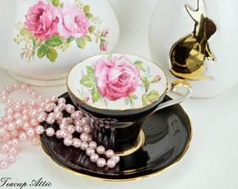 Aynsley Black Corset Teacup and Saucer With Large Pink Rose,  English Bone China Tea cup Set, Tea Party, ca. 1934-1939