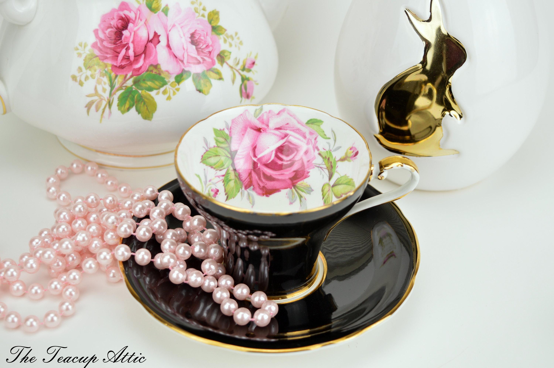 Aynsley Black Corset Teacup and Saucer With Large Pink Rose,  English Bone China Tea cup Set, Tea Party, ca. 1934-1939