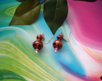 Romantic Lampwork Beaded Earrings, Pierced Earrings, Dangle, Wire,  Earrings, Amber Color Glass, With  Pink and Blue,  Handcrafted