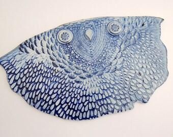 "Ceramic Owl Wall Hanging - Owl Wall Art - Ceramic Owl Wall Tile - Ceramic Owl Home and Office Decor - Fine Art Ceramic Owl - ""Azura"""