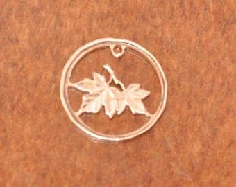 Canada penny  - cut coin charm - Maple leafs - Les Feuilles d Erable