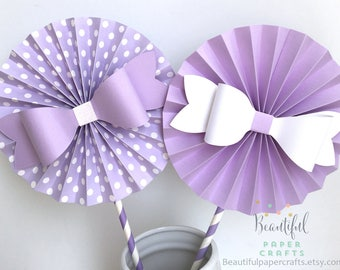 """2- 6"""" Lavender Bows Rosettes Centerpieces -Paper Fans- Pinwheels - Purple Birthday Bow  - Paper Rosettes  - Candy Buffet Decorations"""