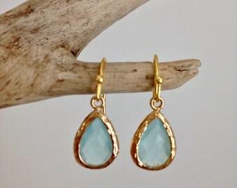 aqua glass crystal earrings, shabby chic, gift idea