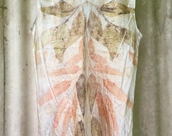 Pure Silk Eco Print Tank Top Size L dyed with leaves