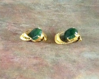 Free Shipping: Vintage 1930s Genuine Nephrite Jade Gold Wash Earrings / Germany / Pre WW2