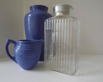 ARC French, Glass Water Refrigerator Bottle, Original White Rubber Stopper, Hand Grips and Ribbing, Made In France, Circa 1960's