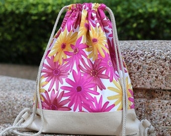 Drawstring backpack/ Drawstring bag/ gym bag ~ Sunflowers  (B99)