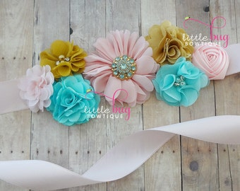 Gender Reveal Aqua Blue Pink Mustard Gold Baby Maternity Pregnancy Bucket Sash Shabby Flowers for Photo Shoots in on White Satin Ribbon