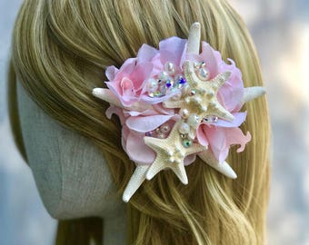 Starfish barrette - starfish hair clip - bridal hair clip - mermaid costume - mermaid barrette - seashell barrette - READY TO SHIP.