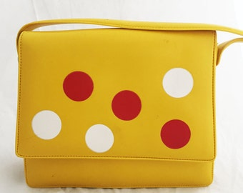 Purse – Yellow Nylon 60's Polka Dot Over the shoulder faux leather bag
