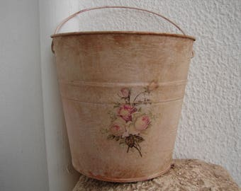 French painted,distressed pink tin bucket or pail,with shabby pink roses decoupage & carrying handle