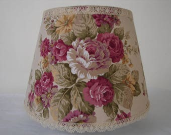 French roses, shabby chic, large, lamp or light shade, Vintage lush roses fabric & lace trim-2 available