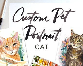 Custom Watercolor Cat Portrait Art