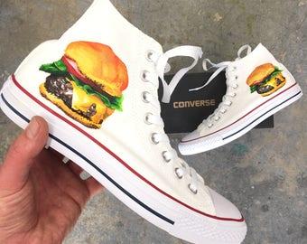 Hand Painted White Converse Chuck Taylor Hi Tops - Cheeseburger Theme