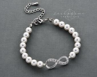 Infinity Bracelet for Bridesmaids, Bridesmaid Gift, Pearl Bracelet Single Strand Swarovski Pearls Bridesmaid Bracelet B32