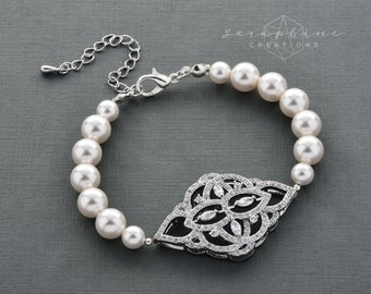 Wedding Bracelet Wedding Jewelry Bridal Bracelet Swarovski Pearls Cubic Zirconia Bling Victorian Wedding Thalia B40