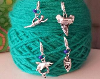 Jaws Theme Knitting/Crochet Stitch Markers-Set 4-*Progress Keeper*Project Bag Zipper Pull*Purse/Planner Charm*Jaws*Shark*Ocean Theme*Beach