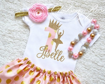 Pink Gold Ballerina Birthday Shirt and skirt set, Pink Gold Ballerina Birthday, Ballet Birthday Outfit, Pink Gold Birthday, 1st Birthday
