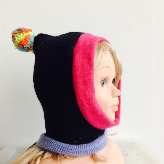 KOSELIG 0-3m Baby Wool Balaclava lined Hat Snood Hood Cap Beanie Bobble Pom Pom in Upcycled Wool Unisex