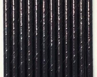 Black Foil Solid Straws ~ Metallic Black Straws ~ Paper Straws ~ Cocktail Straws ~ Drinking Straws