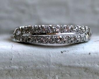 Vintage Art Deco Platinum Diamond Wedding Band - 0.60ct.
