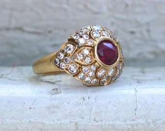 RESERVED - Vintage 18K Yellow Gold Diamond Halo and Ruby Cluster Ring Engagement Ring.