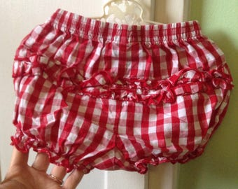 3-6M Baby Bloomers Ruffled Diaper Cover Red Gingham Elastic Stretch Retro