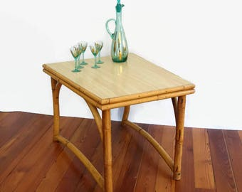 Jungalow Tiki Bamboo End Table, Vintage Rattan Side Table, Boho Cane Occasional Table,  Bentwood Wicker Table